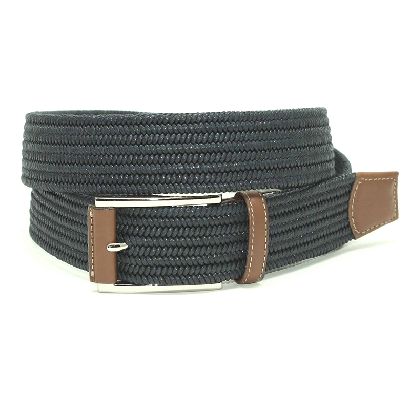 Torino Leather Italian Mini Woven Cotton Stretch Belt Navy Image