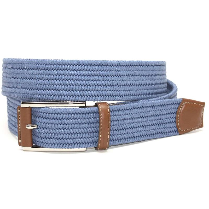 Torino Leather Italian Mini Woven Cotton Stretch Belt Royal Blue Image