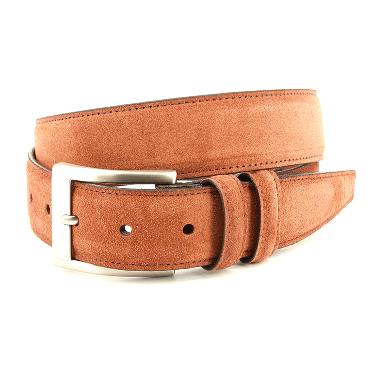 Torino Leather Italian Suede Calfskin Belt Walnut Image