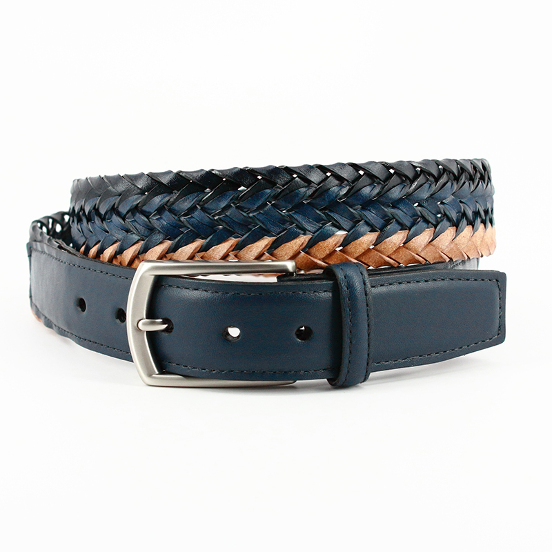 Torino Leather Italian Tri Color Woven Leather Belt Navy Blue Tan Image