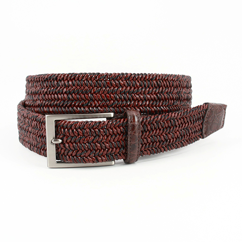 """Torino Leather Italian """"Twist"""" Woven Leather & Cotton With Genuine Caiman Tabs Belt Brown Image"""
