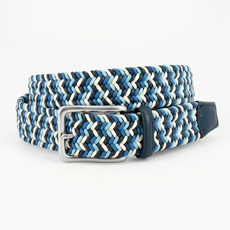 Torino Leather Italian Woven Cotton Belt Navy / Blue / Cream Image