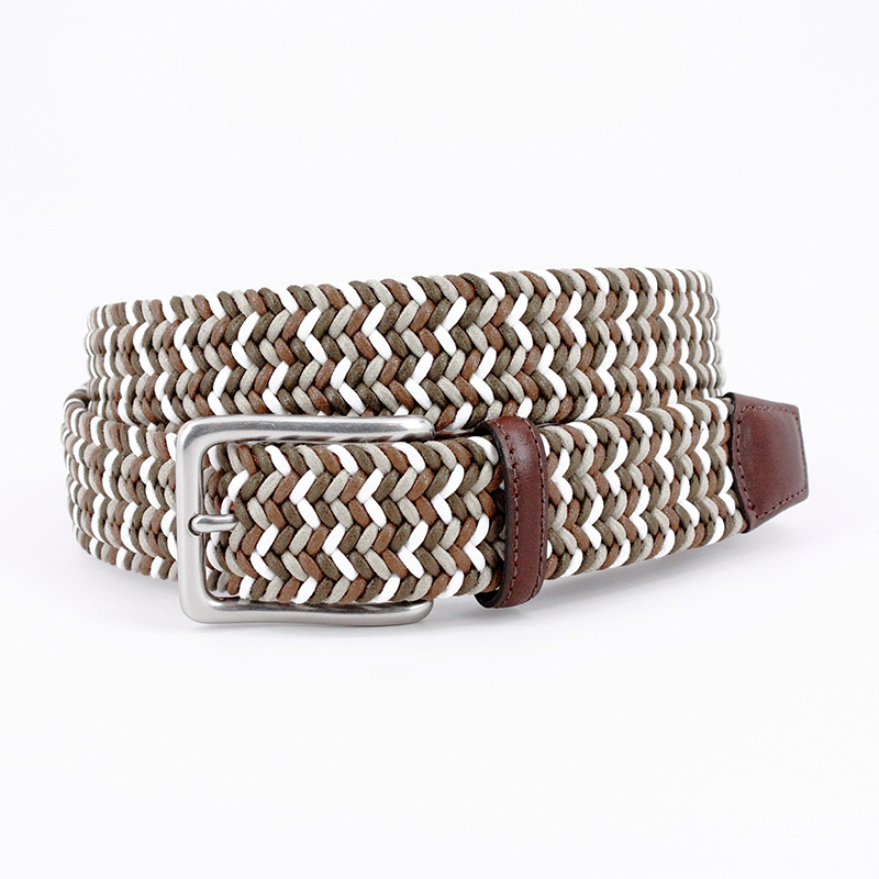 Torino Leather Italian Woven Cotton Belt Olive / Brown / White Image
