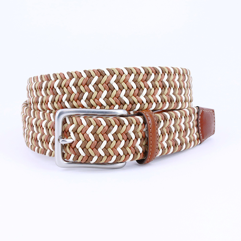 Torino Leather Italian Woven Cotton Belt Tan / Brown / Cream Image