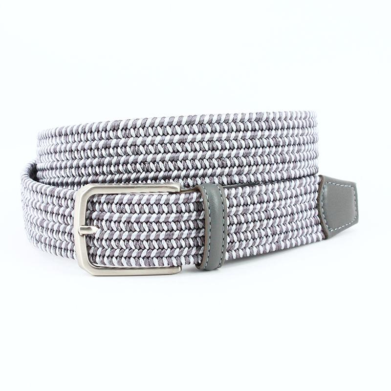 Torino Leather Italian Woven Rayon Elastic Belt Grey Image