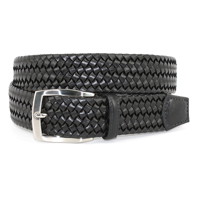 Torino Leather Italian Woven Stretch Leather Belt Black Image