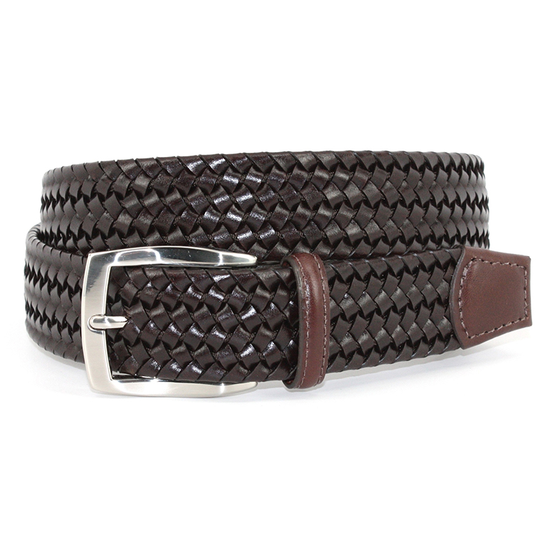 Torino Leather Italian Woven Stretch Leather Belt Brown Image
