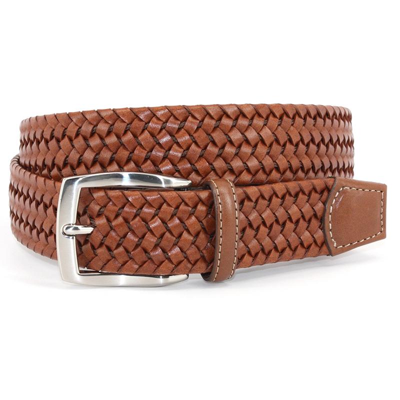 Torino Leather Italian Woven Stretch Leather Belt Cognac Image