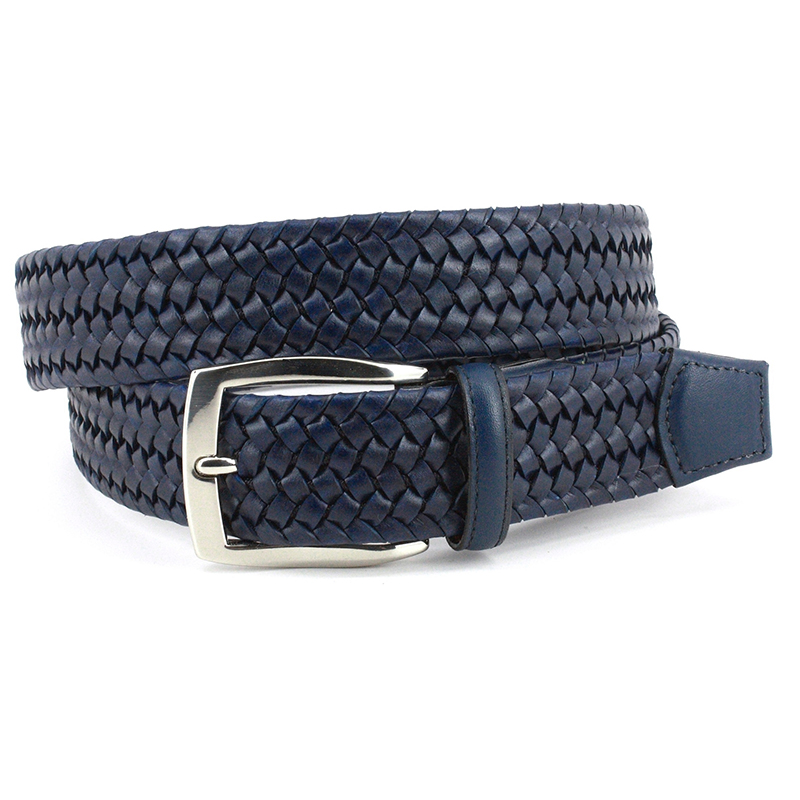Torino Leather Italian Woven Stretch Leather Belt Navy Image