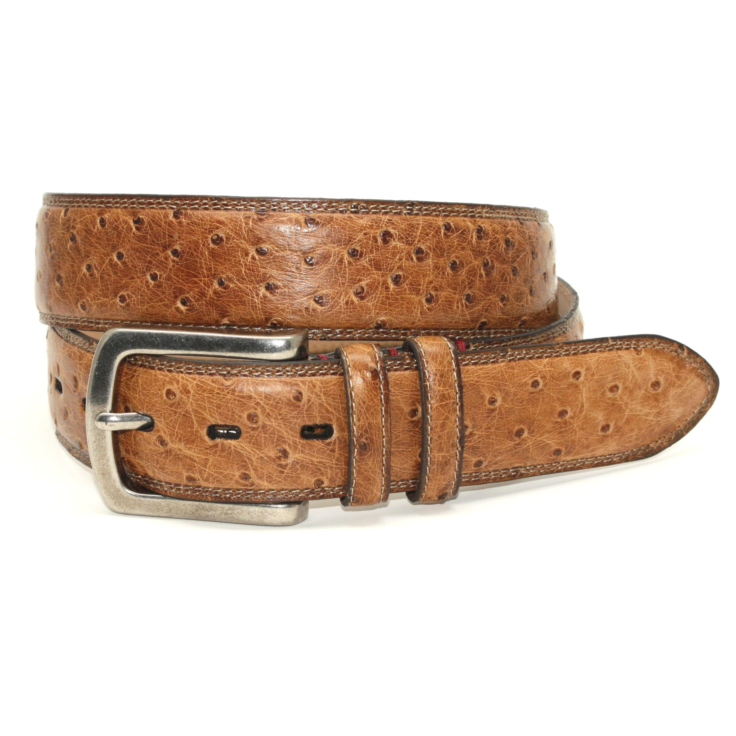 torino leather genuine ostrich quill belt saddle