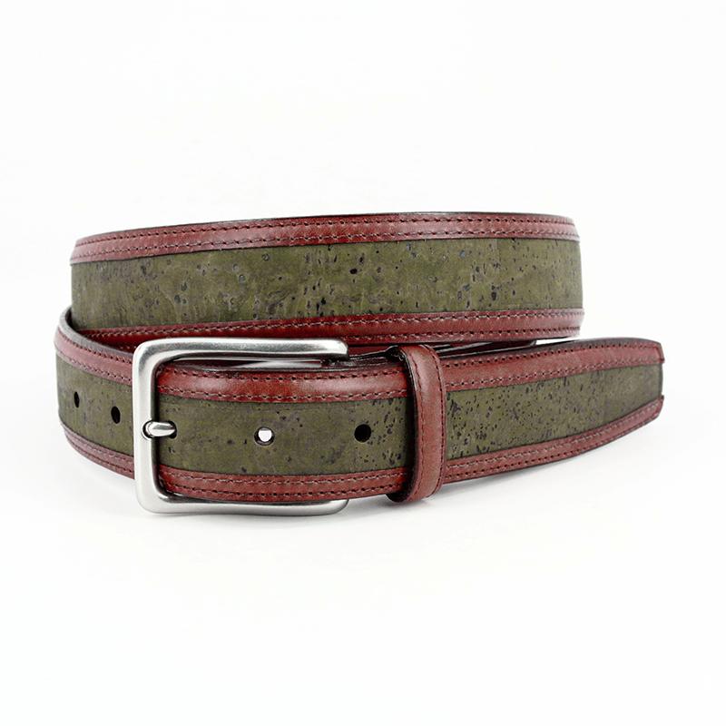 Torino Leather Portuguese Cork With Waxhide Leather Trim Belt Olive Image