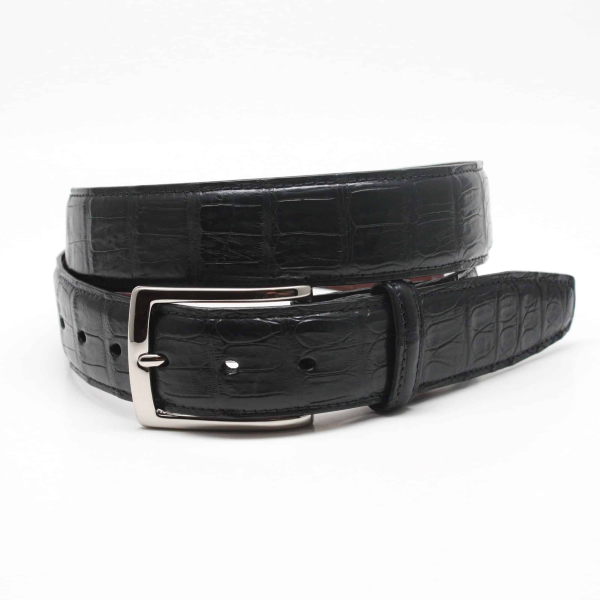 Torino Leather South American Caiman Belt Black Image