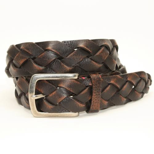torino leather weathered glove braided belt brown