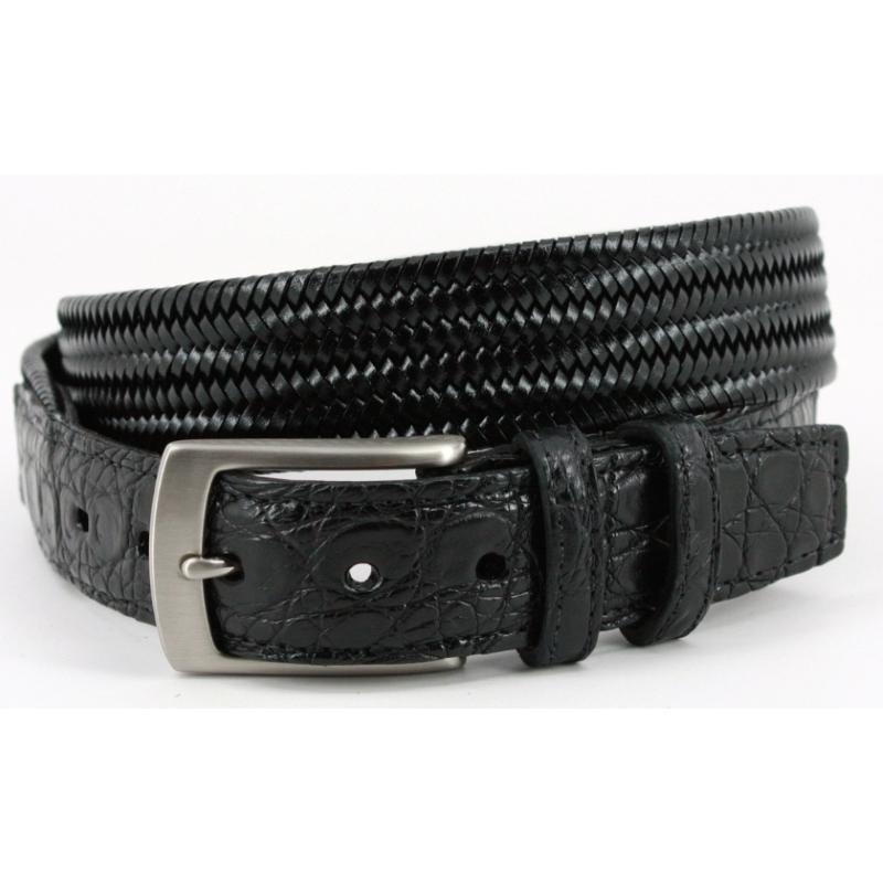 Torino Leather Woven & Caiman Leather Belt Black Image