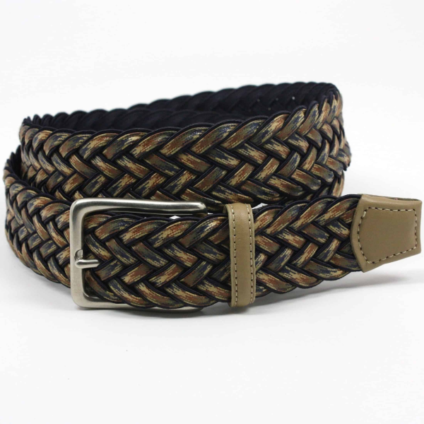 Torino Leather Woven Cotton Elastic Belt Navy Multi