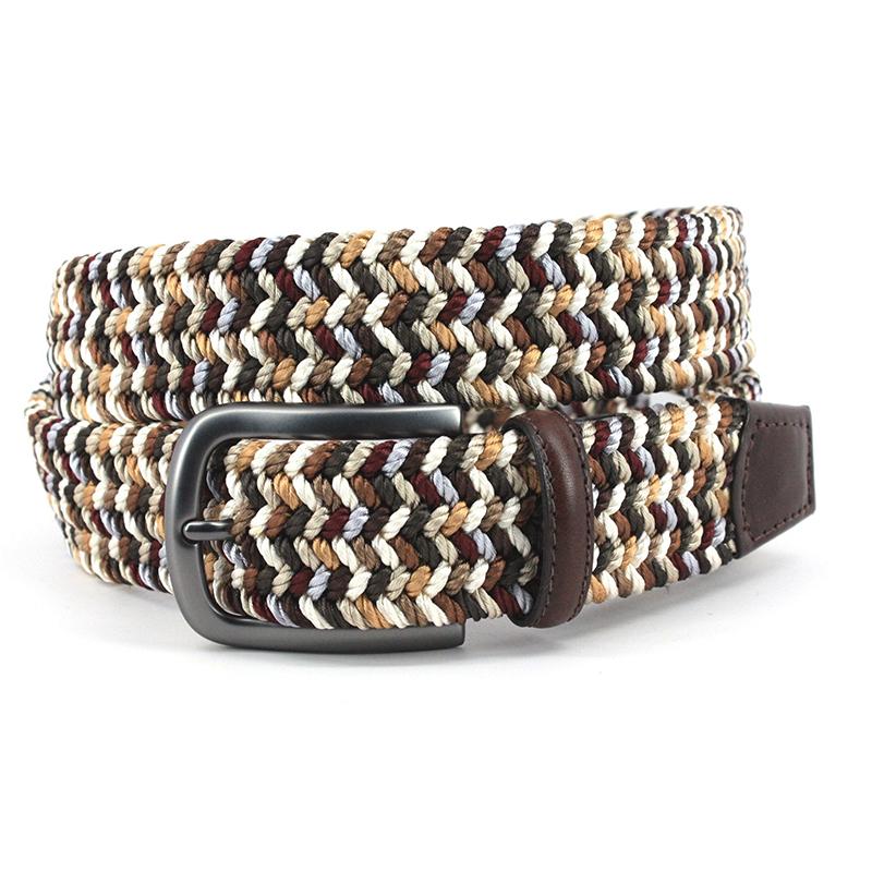 Torino Leather Woven Italian Rayon Elastic Belt Brown Camel Image