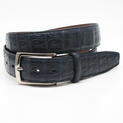 Torino Leather South American Caiman Belt Navy Image