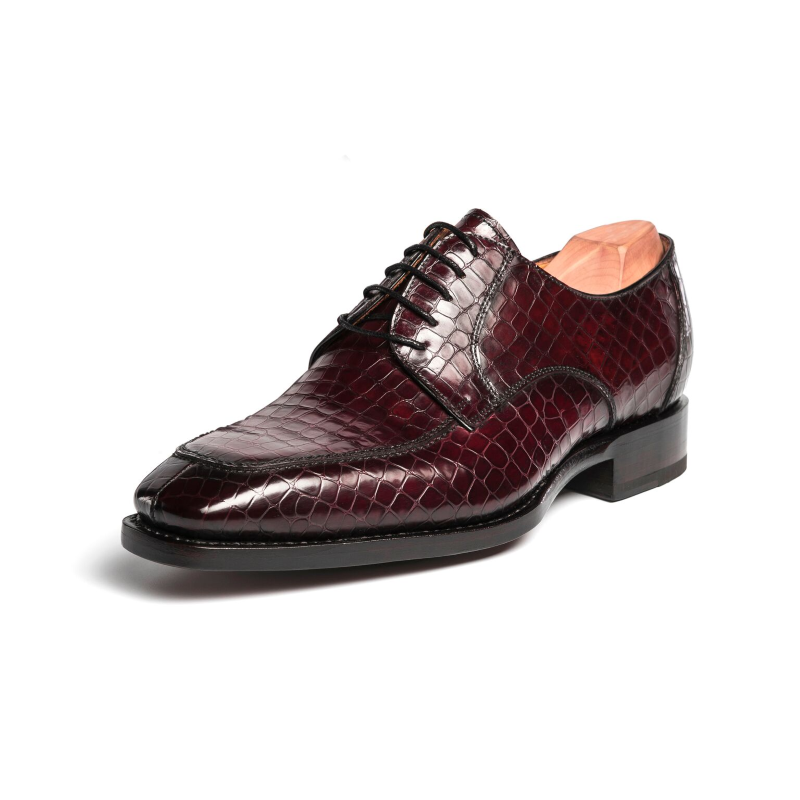 Ugo Vasare Carlton Crocodile Embossed Dress Shoes Wine Image