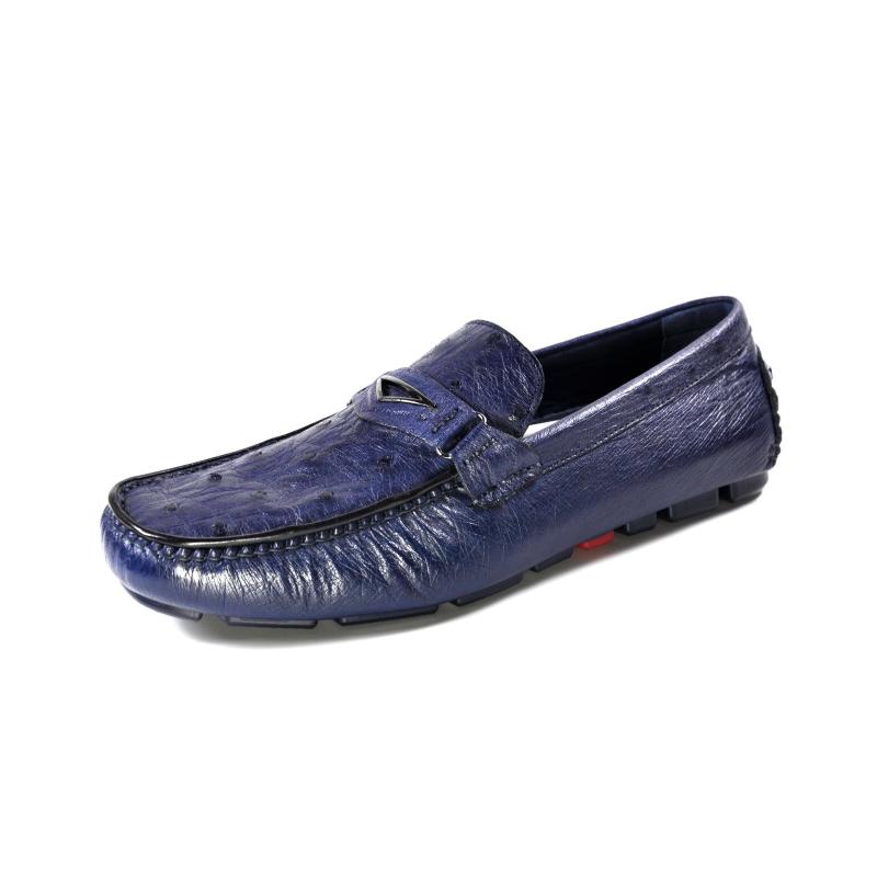 Ugo Vasare Drake Ostrich Driving Loafers Blue Image