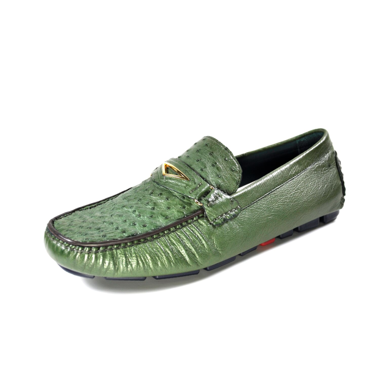 Ugo Vasare Drake Ostrich Driving Loafers Green Image