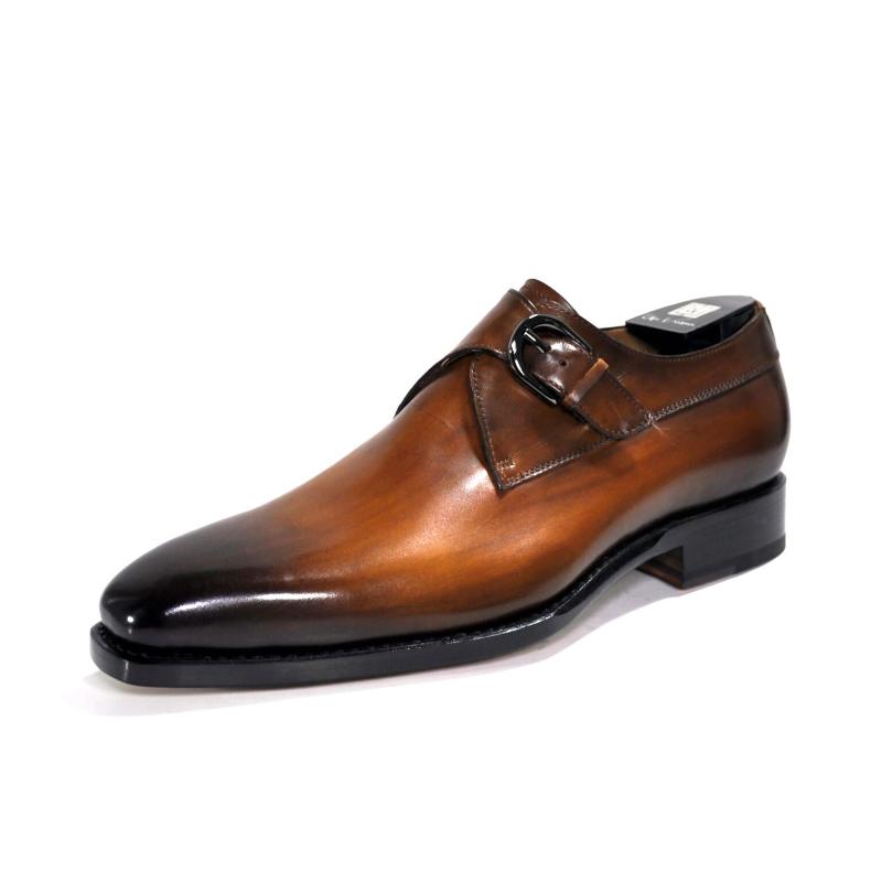 Ugo Vasare Edward Monk Strap Shoes Camel Image