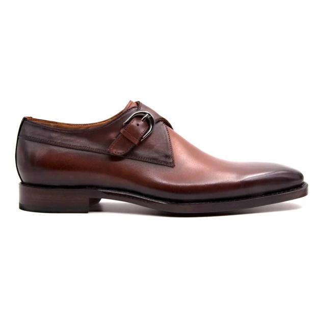 Ugo Vasare Edward Monk Strap Shoes Caramel Image