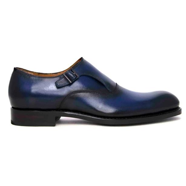 Ugo Vasare Fred Monk Strap Shoes Navy Image