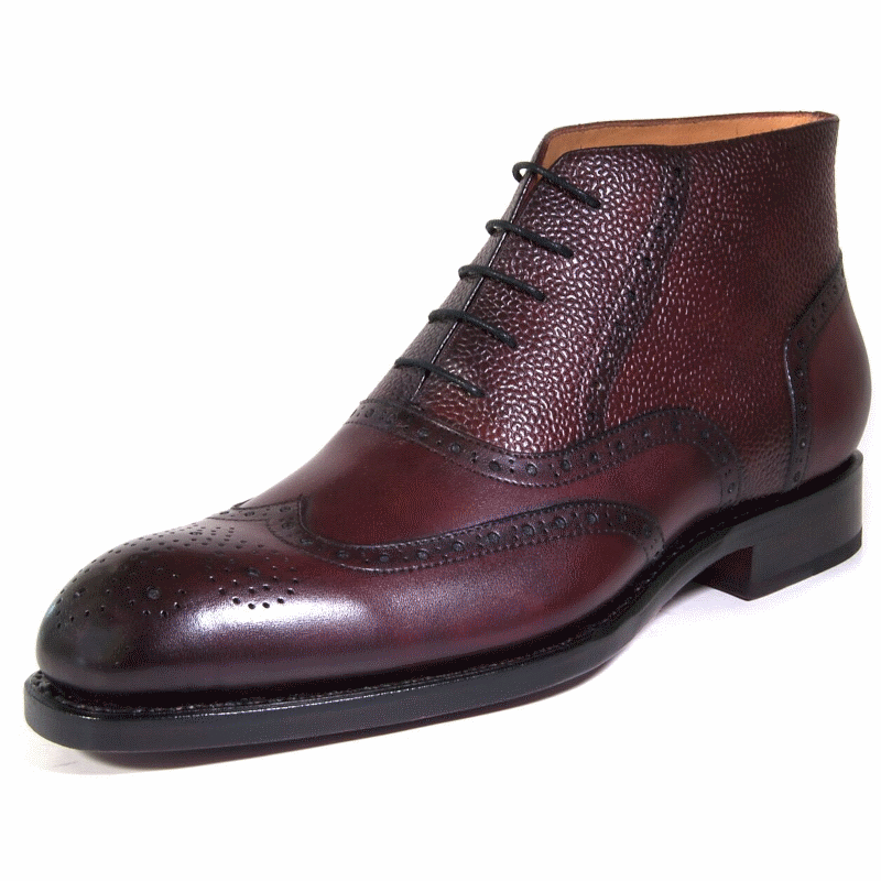 Ugo Vasare Stanford Wingtip Boots Plum Image