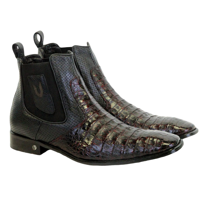 Vestigium Caiman Belly Chelsea Boots Black Cherry Image