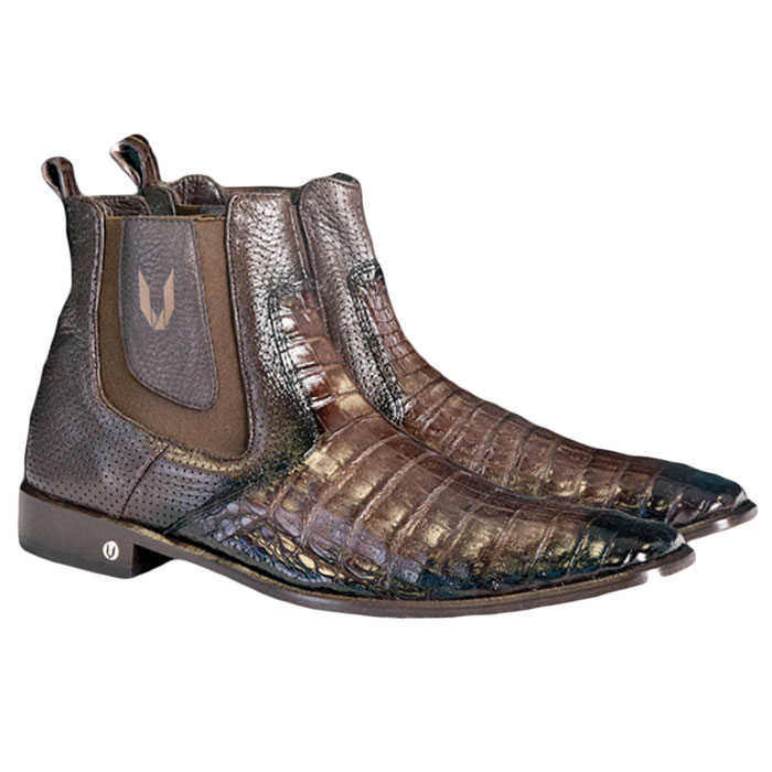 Vestigium Caiman Belly Chelsea Boots Faded Brown  Image