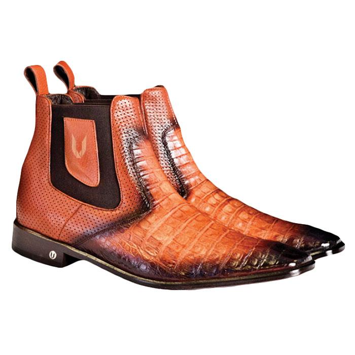 Vestigium Caiman Belly Chelsea Boots Faded Cognac Image