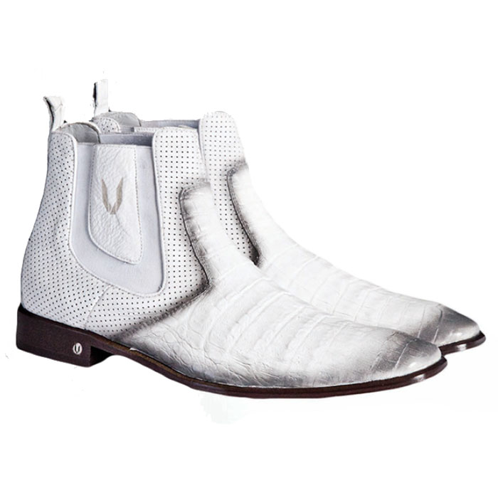Vestigium Caiman Belly Chelsea Boots Faded White Image
