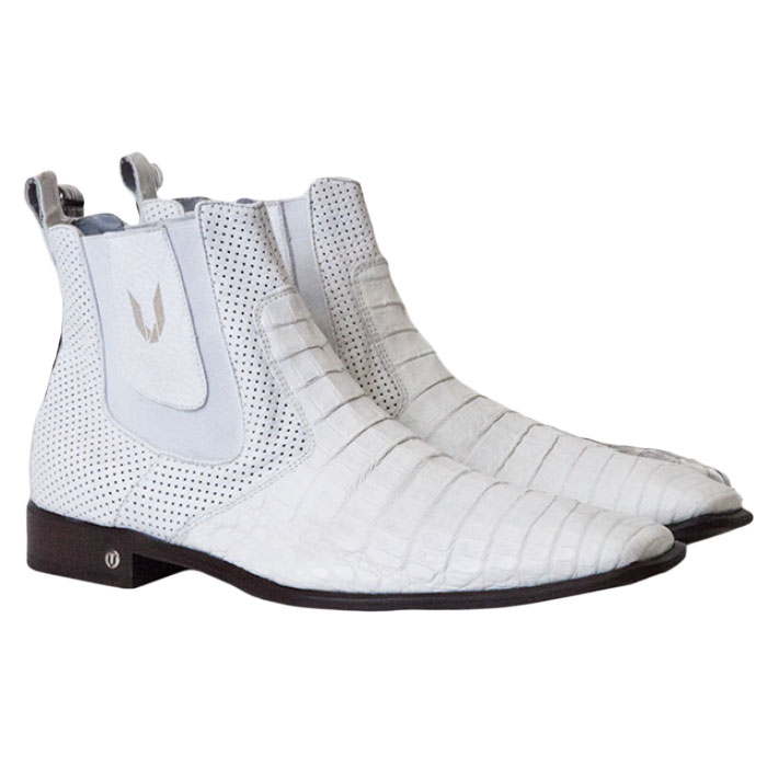 Vestigium Caiman Belly Chelsea Boots White Image