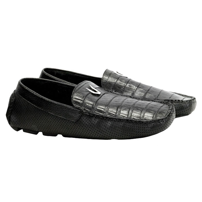 Vestigium Caiman Belly Driving Loafers Black Image