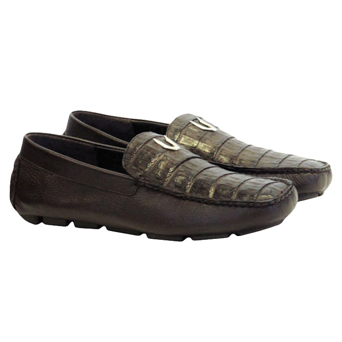 Vestigium Caiman Belly Driving Loafers Brown Image