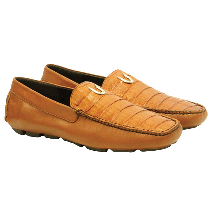Vestigium Caiman Belly Driving Loafers Cognac Image