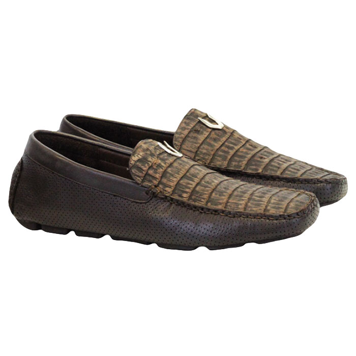 Vestigium Caiman Belly Driving Loafers Sanded Brown Image