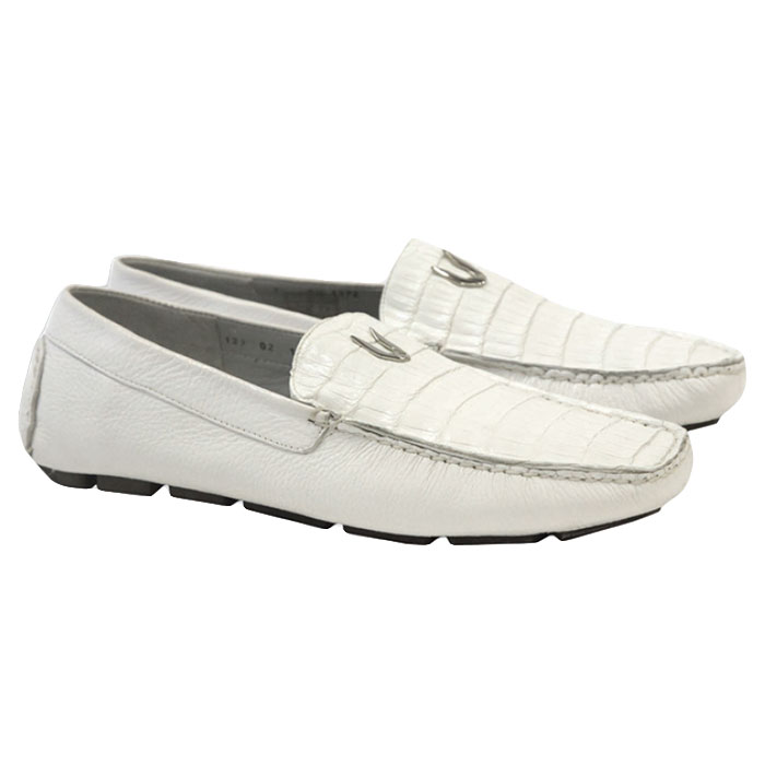 Vestigium Caiman Belly Driving Loafers White Image