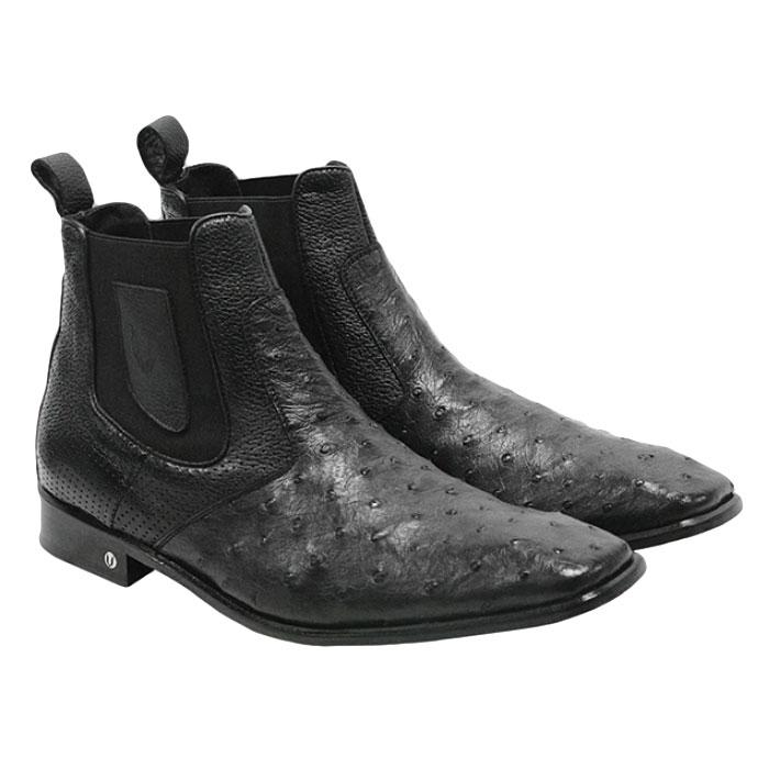 Vestigium Ostrich Chelsea Boots Black Image