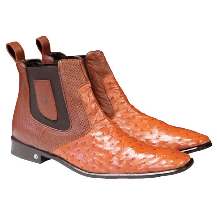 Vestigium Ostrich Chelsea Boots Cognac Image
