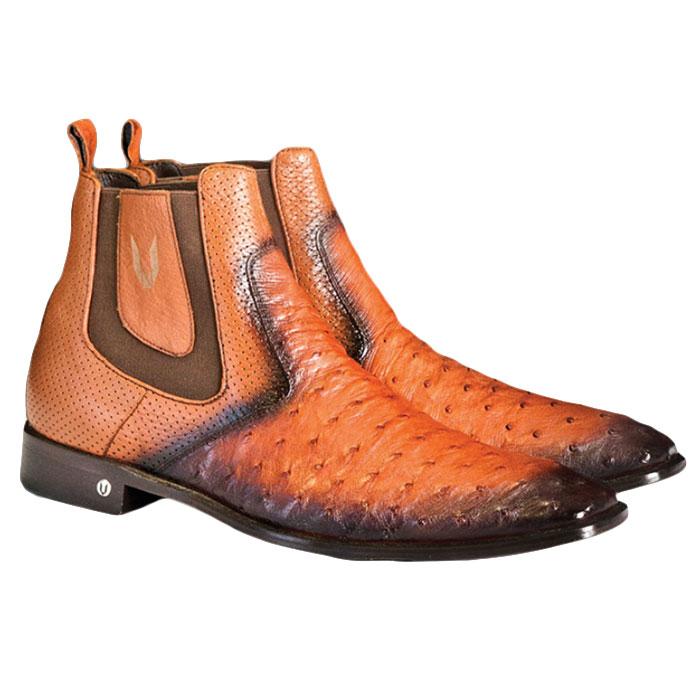 Vestigium Ostrich Chelsea Boots Faded Cognac Image