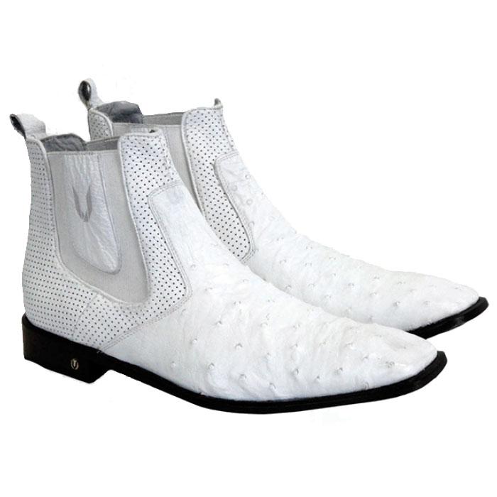 Vestigium Ostrich Chelsea Boots White Image