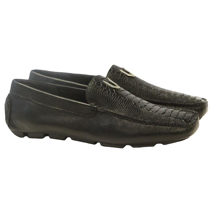 Vestigium Ostrich Leg Driving Loafers Black Image