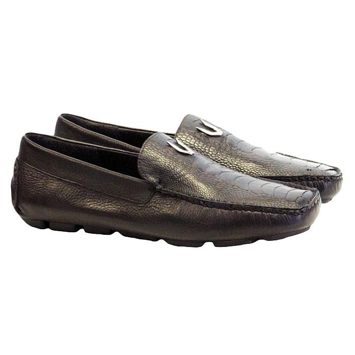 Vestigium Ostrich Leg Driving Loafers Brown Image