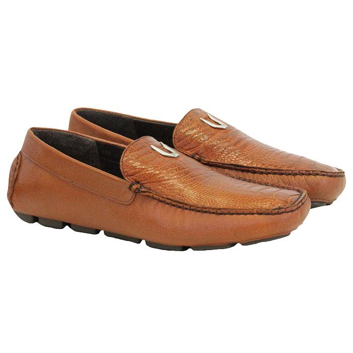 Vestigium Ostrich Leg Driving Loafers Cognac Image