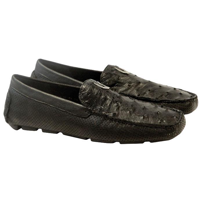 Vestigium Ostrich Driving Loafers Black Image