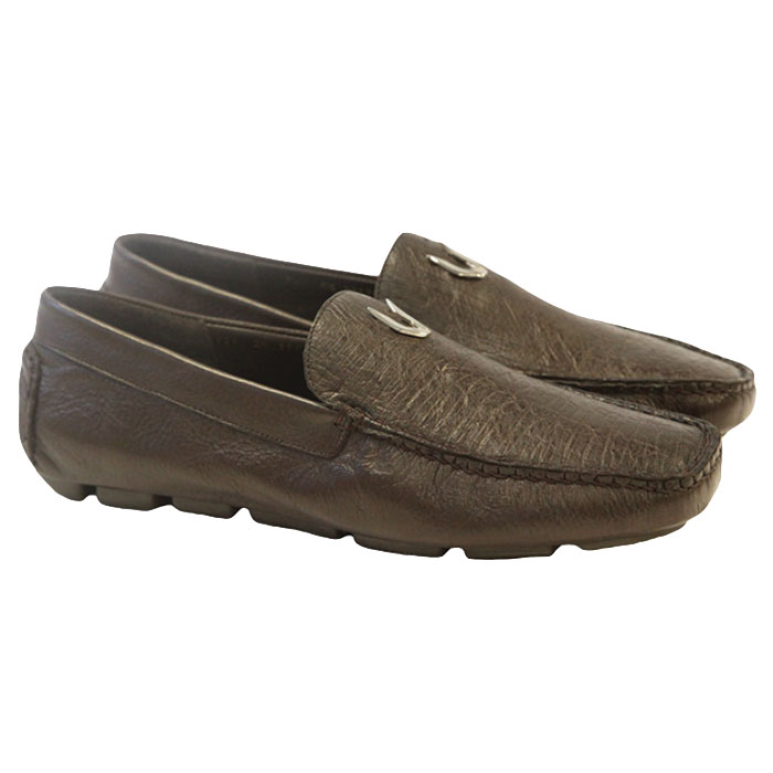 Vestigium Ostrich Driving Loafers Brown Image