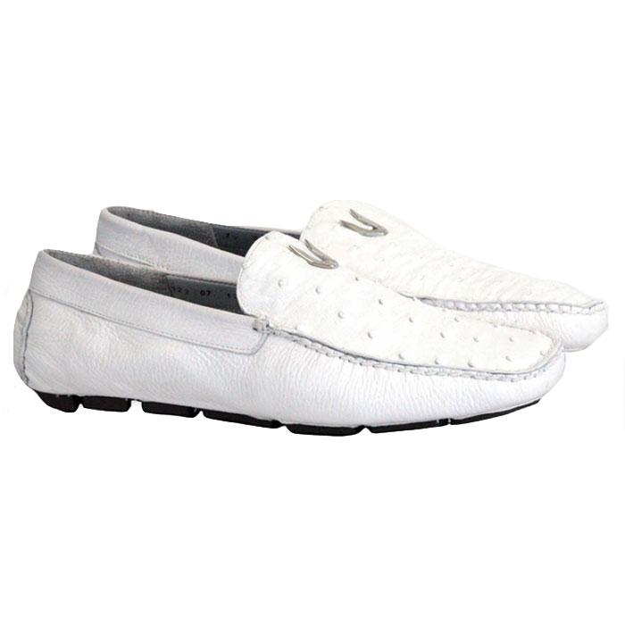 Vestigium Ostrich Driving Loafers White Image