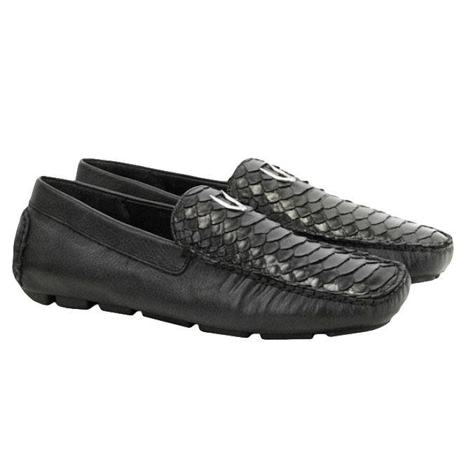 Vestigium Python Driving Loafers Black Image