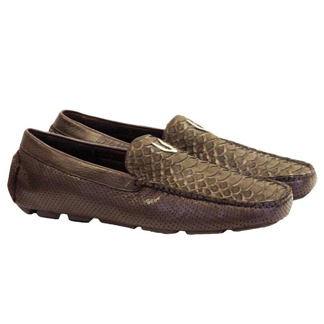 Vestigium Python Driving Loafers Brown Nobuck Image